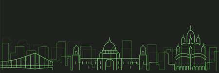 Kolkata Futurist Technology Light Trace Skyline