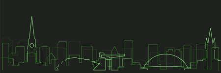 Glasgow Futurist Technology Light Trace Skyline