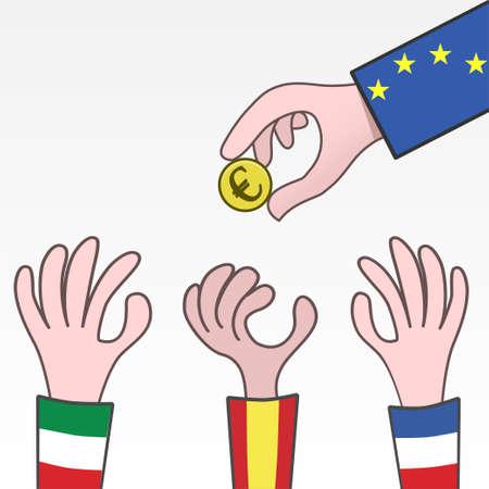European Union Rescue Money for Spain Italy and France Illusztráció