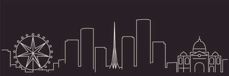 Melbourne Single Line Simple Minimalist Skyline