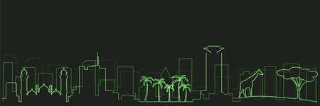 Nairobi Futurist Technology Light Trace Skyline Illusztráció