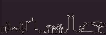 Nairobi Single Line Simple Minimalist Skyline