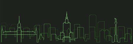 Warsaw Futurist Technology Light Trace Skyline