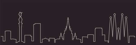 Barcelona Single Line Simple Minimalist Skyline 矢量图像