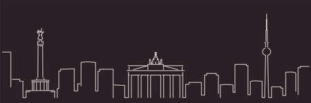Berlin Single Line Simple Minimalist Skyline