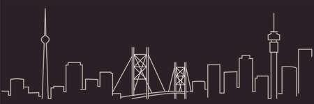 Johannesburg Single Line Simple Minimalist Skyline
