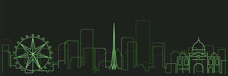 Melbourne Futurist Technology Light Trace Skyline