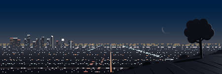 Los Angeles Night Scene Panoramic Hill Viewpoint 矢量图像