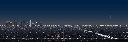 Los Angeles Night Scene Panoramic Banner