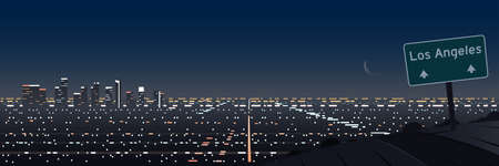 Los Angeles Night Scene Panoramic and Road and Indication Sign Banner
