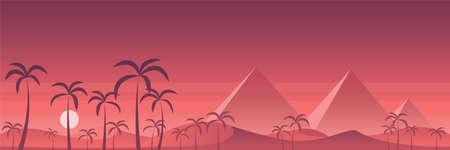 Desert Egypt Pyramids Scene Panoramic Banner