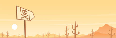 Desert and Danger Sign Scene Panoramic Banner