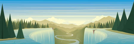Waterfall and Mountains Scene Beautiful Panoramic Banner 矢量图像