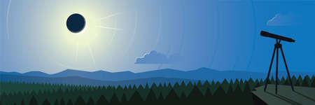 Solar Eclipse Observation Landscape Scene Banner 向量圖像