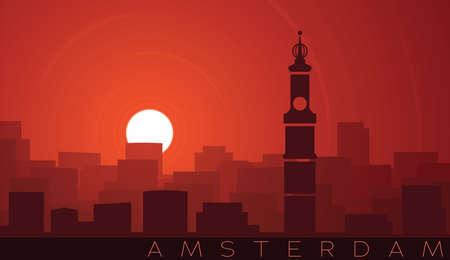 Amsterdam Low Sun Skyline Scene 向量圖像