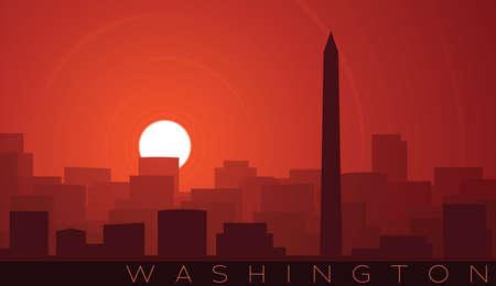 Washington Low Sun Skyline Scene 向量圖像