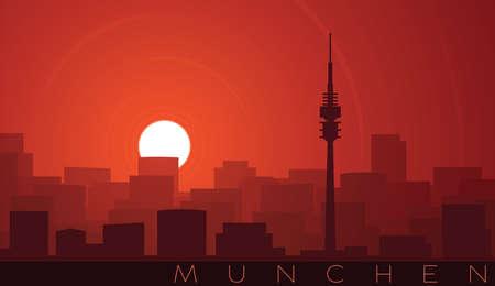 Munich Low Sun Skyline Scene 向量圖像