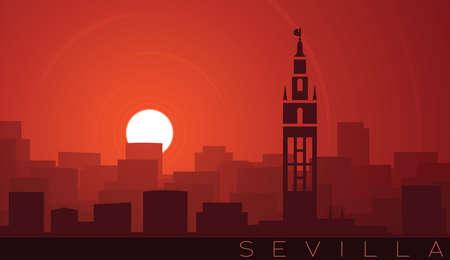 Seville Low Sun Skyline Scene 向量圖像