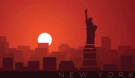 New York City Low Sun Skyline Scene