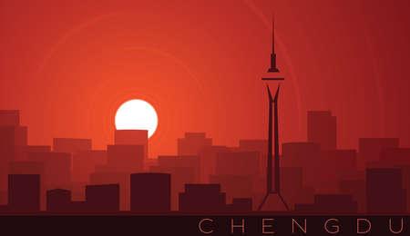 Chengdu Low Sun Skyline Scene 向量圖像