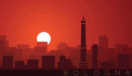 Bologna Low Sun Skyline Scene Illusztráció