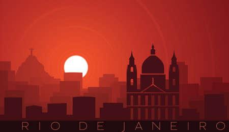 Rio de Janeiro Low Sun Skyline Scene Иллюстрация