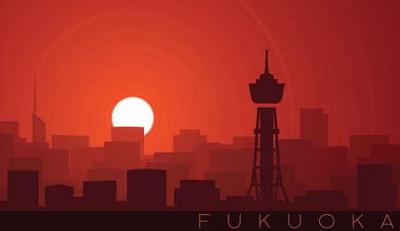Fukuoka Low Sun Skyline Scene