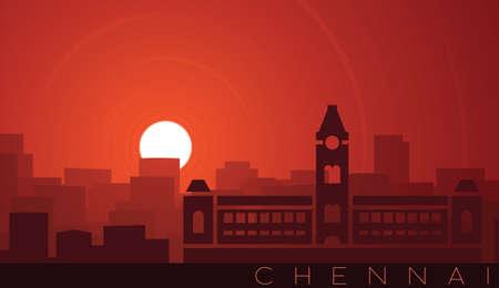 Chennai Low Sun Skyline Scene Иллюстрация