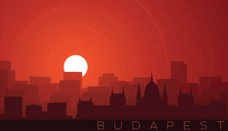 Budapest Low Sun Skyline Scene Иллюстрация