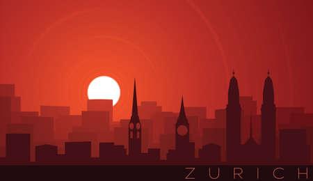 Zurich Low Sun Skyline Scene Иллюстрация