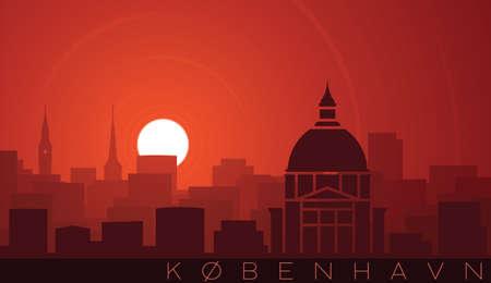 Copenhagen Low Sun Skyline Scene Иллюстрация