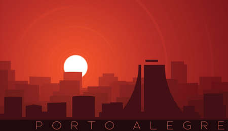 Porto Alegre Low Sun Skyline Scene Иллюстрация