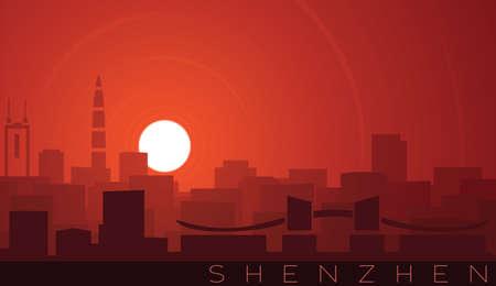 Shenzhen Low Sun Skyline Scene