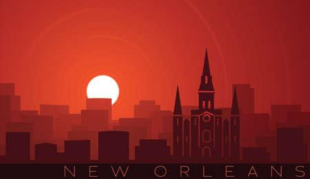 New Orleans Low Sun Skyline Scene