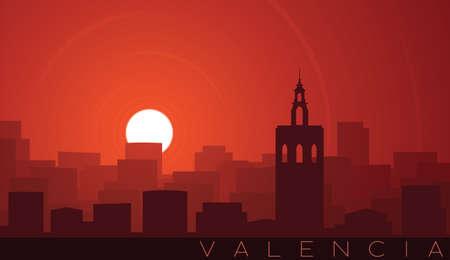 Valencia Low Sun Skyline Scene Иллюстрация