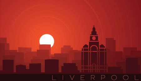 Liverpool Low Sun Skyline Scene