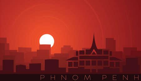 Phnom Penh Low Sun Skyline Scene