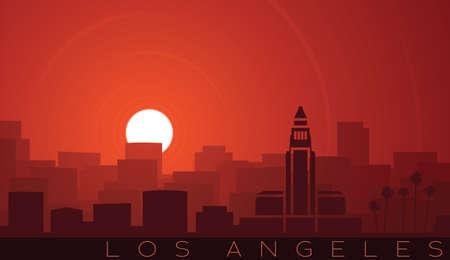 Los Angeles Low Sun Skyline Scene  イラスト・ベクター素材