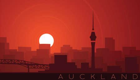 Auckland Low Sun Skyline Scene