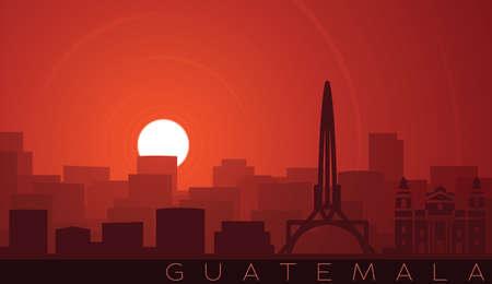 Guatemala City Low Sun Skyline Scene Иллюстрация