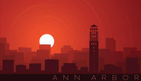 Ann Arbor Low Sun Skyline Scene Иллюстрация