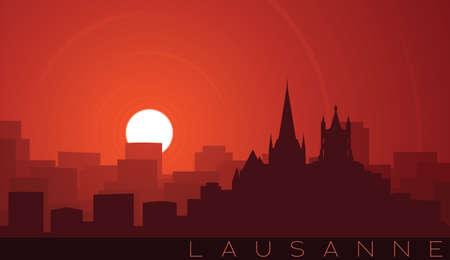 Lausanne Low Sun Skyline Scene Иллюстрация