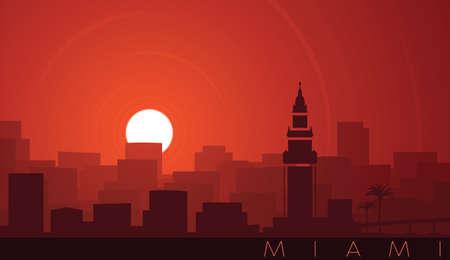 Miami Low Sun Skyline Scene Иллюстрация