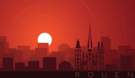 Rouen Low Sun Skyline Scene Иллюстрация