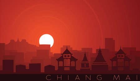Chiang Mai Low Sun Skyline Scene Иллюстрация