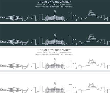 Quebec Single Line Skyline Profile Banner