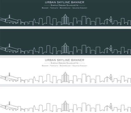 El Paso Single Line Skyline Profile Banner Illustration
