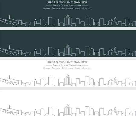 El Paso Single Line Skyline Profile Banner 矢量图像