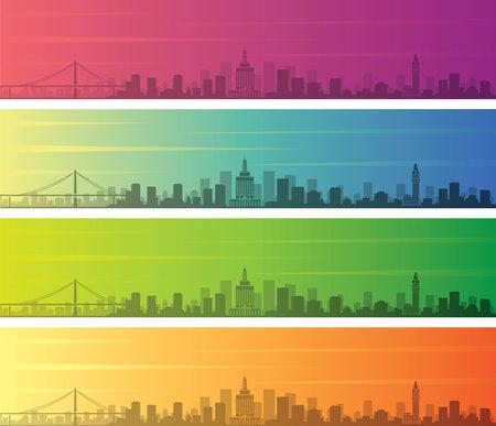 Oakland Multiple Color Gradient Skyline Banner