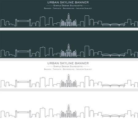 Fort Worth Single Line Skyline Profile Banner